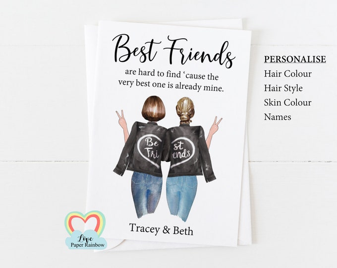 personalised best friend card, best friend birthday card, best friend quote, best friend personalised gift, best friends are hard to find