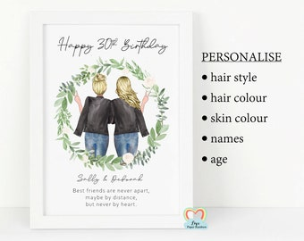 best friend 30th birthday print, personalised 30th birthday gift, best friend poem, personalised friend print, best friends are never apart