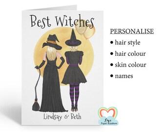 best friend halloween card, personalised halloween card, best witches, witch birthday card, friends halloween card, halloween birthday card