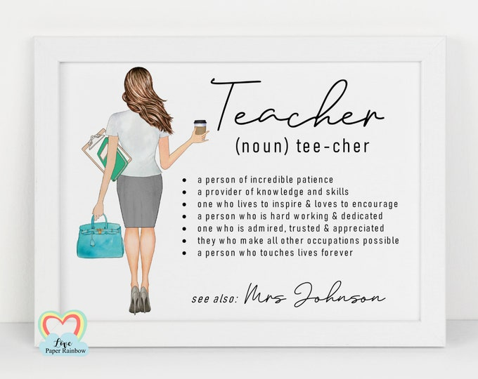 personalised teacher gift, teacher print, teacher noun print, end of year teacher gift, 2020 teacher gift, classroom sign, classroom print
