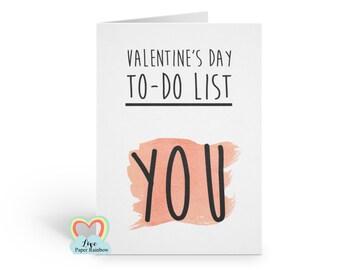 funny valentine card, rude valentine card, valentine's day to do list, girlfriend, boyfriend, cheeky valentine card,