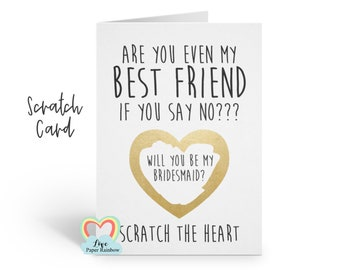 funny bridesmaid card will you be my bridesmaid scratch card maid of honour scratch card best friend quote proposal love paper rainbow