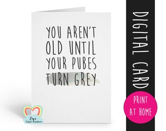 Printable Birthday Card Funny Rude Inappropriate Grey Pubes
