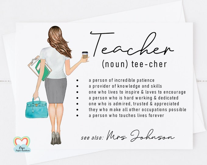 teacher card, personalised teacher card, teacher thank you card, teacher quote, teacher portrait, teacher noun, end of term gift