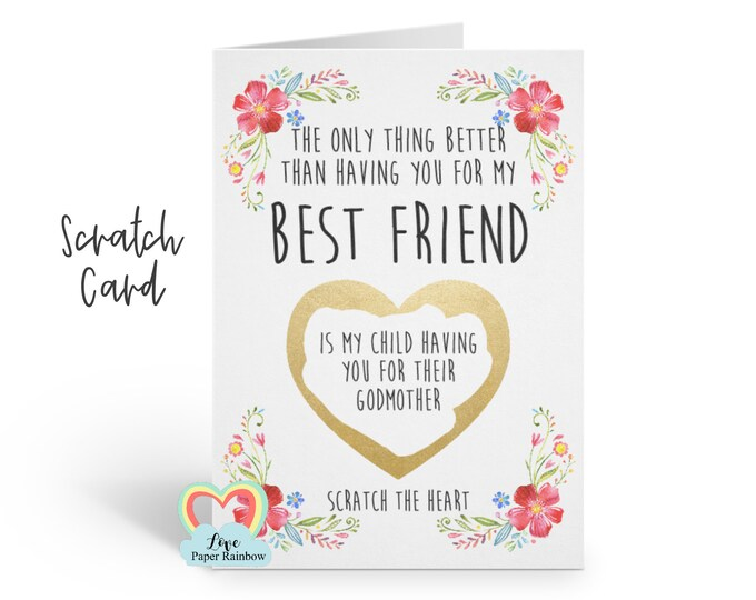 godmother card will you be my godmother scratch card godmother proposal best friend godfather card godmother quote card floral