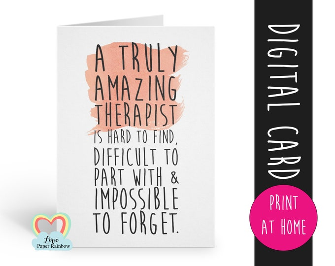 therapist card printable therapist retirement card instant download therapist thanks card a truly amazing therapist is hard to find