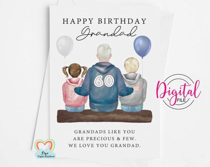 grandad birthday card diy, grandad 60th birthday card printable, personalised grandad card download, grandad poem print, grandad wall art