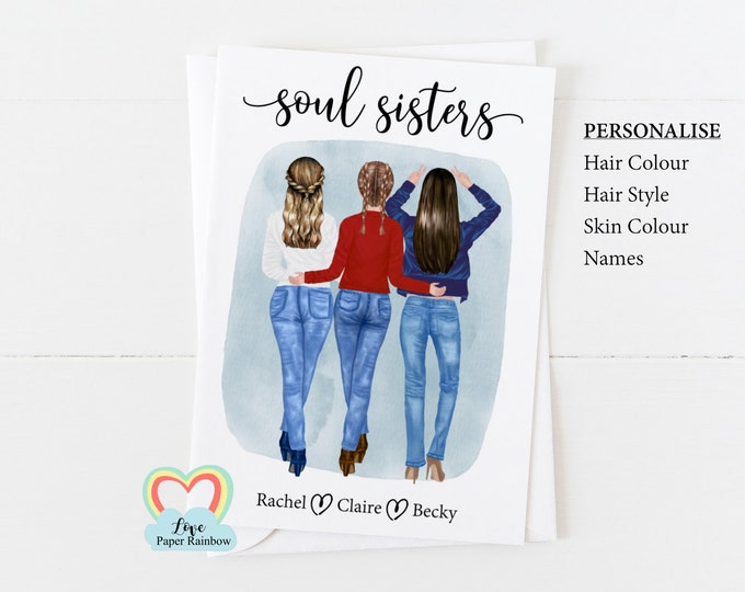 soul sisters card, 3 best friends card, best friends birthday card, personalised friendship card, personalised card, 3 friends birthday card
