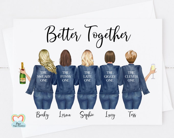 personalised best friend card, 5 best friends card, best friend quote, best friend personalised gift, better together, friends drinking card