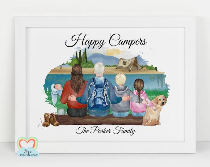 camping family print, personalised camping gift, happy campers print, family christmas gift, family wall art, travel gift