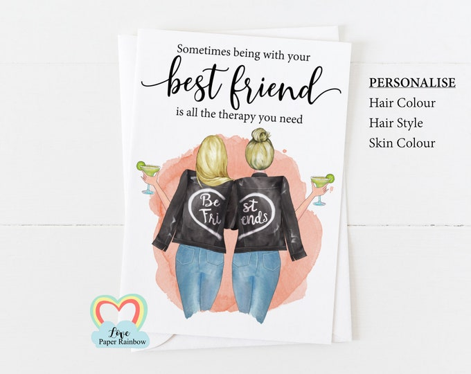 personalised best friend card, best friend birthday card best friend quote best friend all the therapy you need cocktails miss you friend