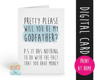 funny will you be my godfather card printable, godfather card, printable godfather card, godfather proposal printable, funny godfather card