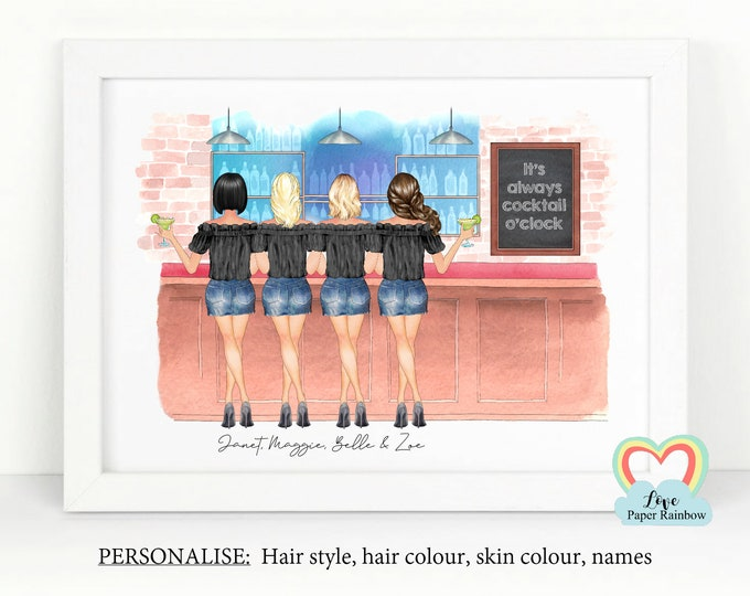 personalised best friend print, wine best friends gift, best friend birthday gift, 4 best friends gift, drinking in a bar, friends cocktail