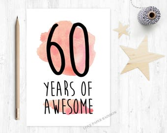 60th Birthday Card Funny 60 Years Of Awesome