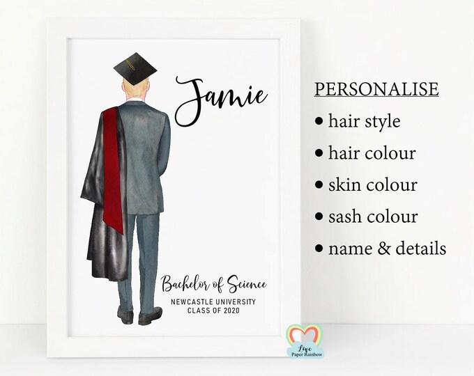 son graduation framed print, son graduation gift, personalised graduation print, boy graduation gift