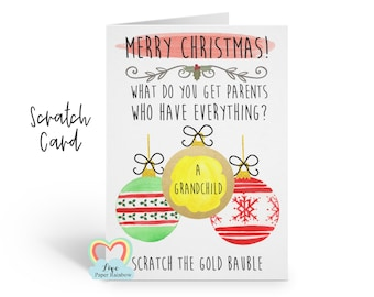 you're going to be grandparents christmas scratch card christmas surprise baby reveal pregnancy announcement parents who have everything
