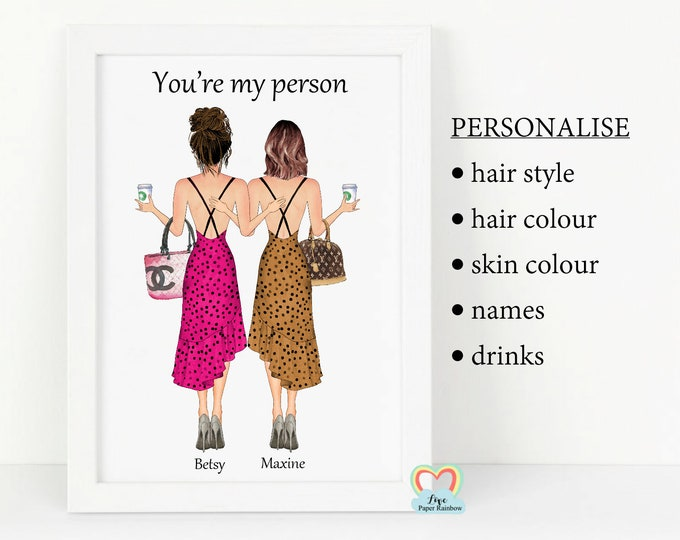 best friends shopping print, personalised friend birthday gift, you're my person, sister birthday gift, shopping girls, 40th birthday gift
