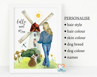 personalised dog mum print, dog and girl print, dog birthday gift, dog family print, all you need is love and a dog, dog mum gift