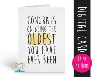 PRINTABLE Birthday Card Printable Instant Download Funny Sarcastic Digital