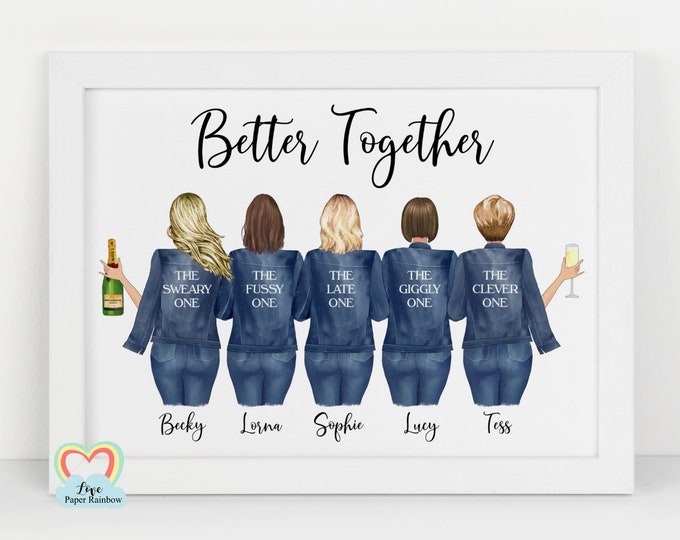 best friends birthday gift personalised print drinking birthday gift sister 5 friends print best friends Christmas gift better together