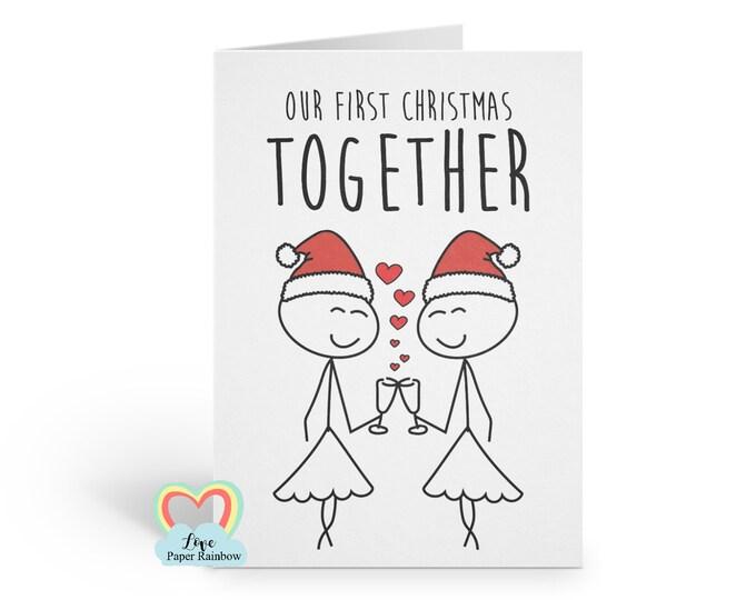 lesbian christmas card our first christmas card our first christmas together 1st christmas card LGBT christmas card