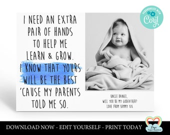 personalized godmother card printable will you be my godfather godparents proposal godmother photo card godmother poem extra pair of hands