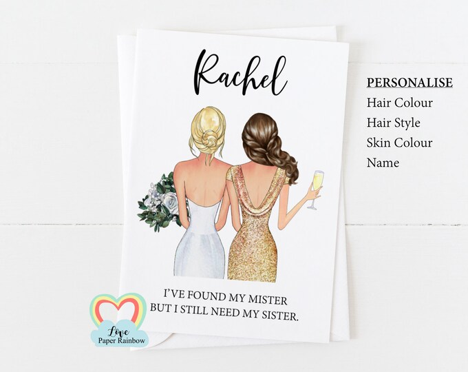 I've found my mister but I still need my sister personalised maid of honour card proposal will you be my bridesmaid card custom