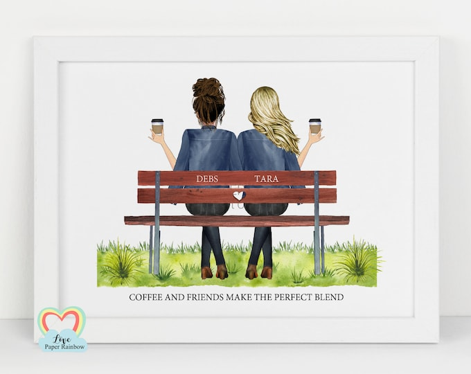 Best friend print, personalised best friend gift, coffee and friends make the perfect blend, coffee gift, best friend christmas gift