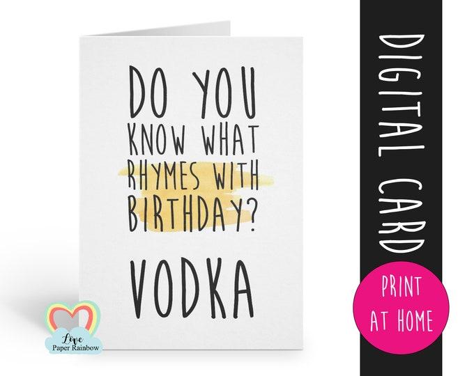 PRINTABLE birthday card, vodka birthday card printable, instant download birthday card, funny birthday card, vodka birthday card digital