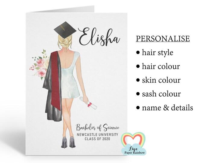 personalised graduation card, graduation gift, class of 2020, girl graduation card, personalised girl graduation