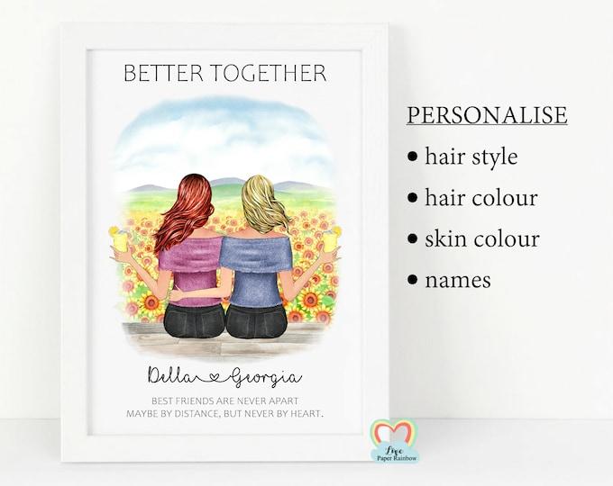 best friend print, personalised best friend gift, best friend birthday, best friend christmas gift, custom best friend print, quote print