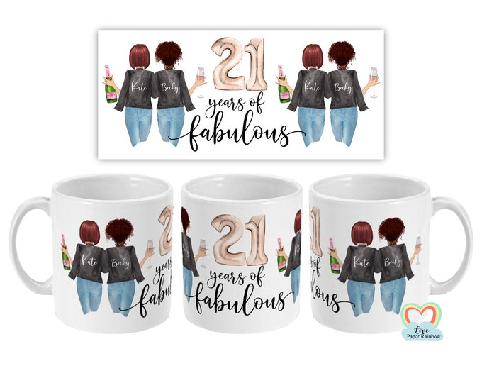 21st birthday mug, best friend 21st mug, personalised mug, personalised birthday mug, best friend gift, 21 years of fabulous, 21st gift