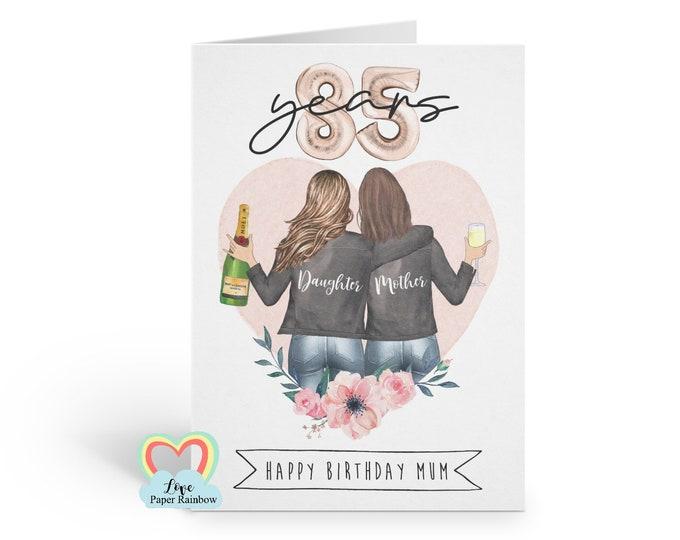mum 85th birthday card, personalised mum birthday card, mother and daughter birthday card, mother birthday card, floral mum birthday card