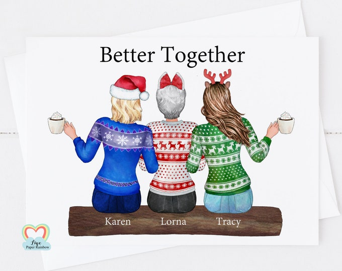 best friends christmas card, personalised best friend christmas cards, sisters christmas card, mother and daughter christmas card