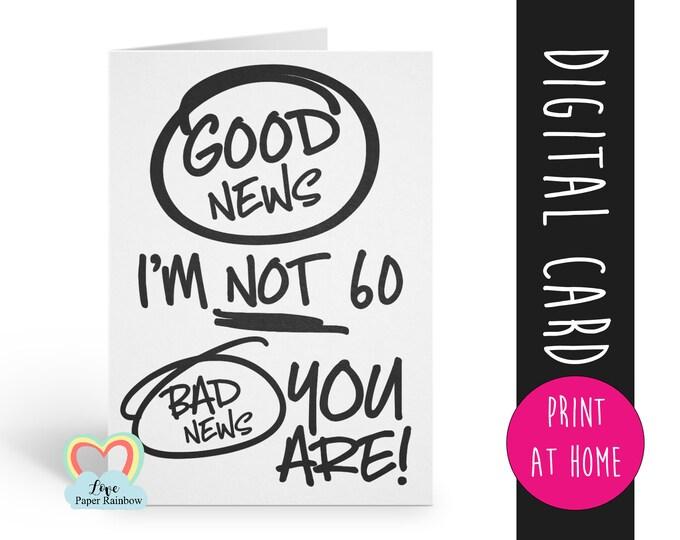 60th birthday card printable   digital birthday card 60   funny birthday card   60 birthday download   60th birthday download