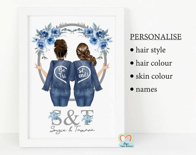 best friend print, personalised best friend gift, best friend birthday, best friend christmas gift, custom best friend print