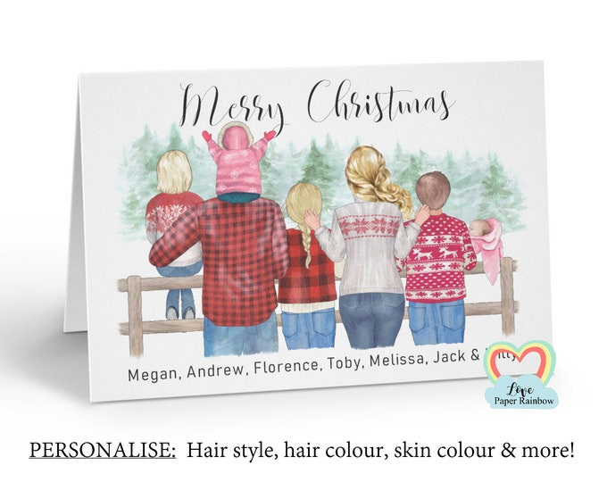 personalised family christmas card, family portrait christmas card, family christmas card, custom christmas card, family of 7