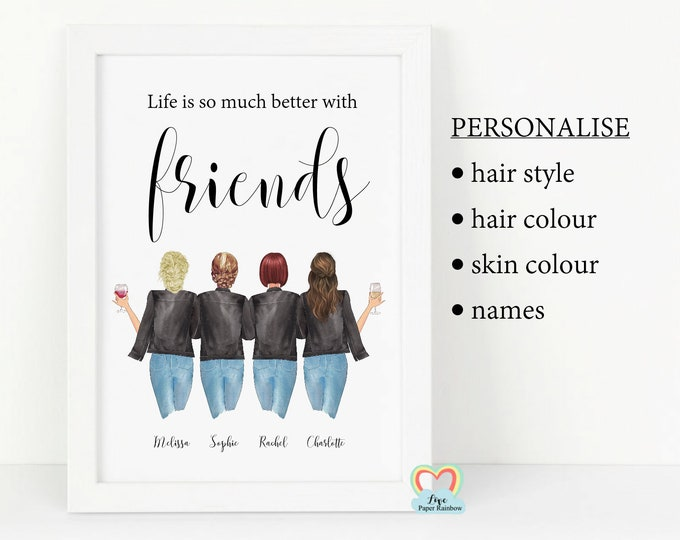 4 best friends print, life is so much better with friends, personalised best friends print, wine best friends print, best friend birthday