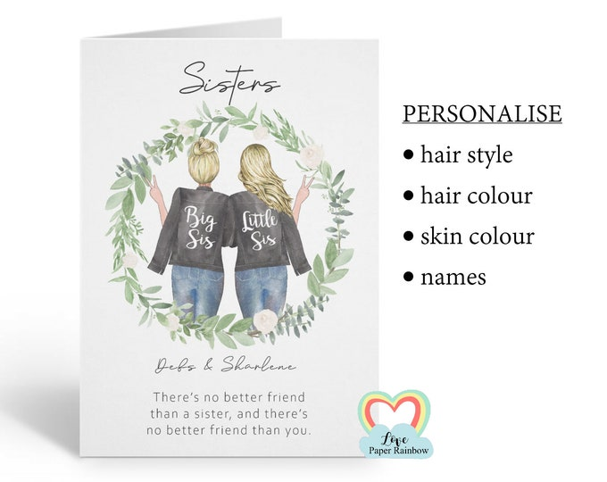personalised sister card, sister birthday card, sister quote card, best friend sister card, there's no better friend than a sister