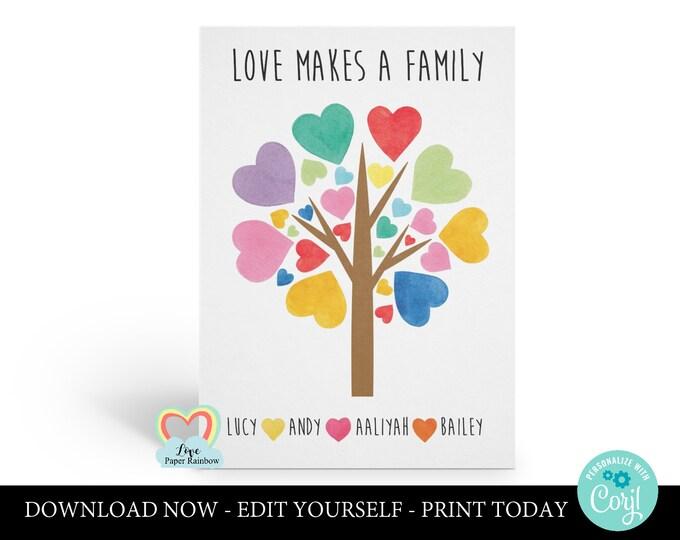 adoption printable card | family tree | custom family card | love makes a family | personalised adoption card | print at home | newborn