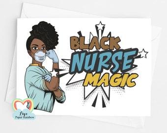 black nurse magic birthday card motivational BLM black lives matter afro woman african carribean brown skin lady