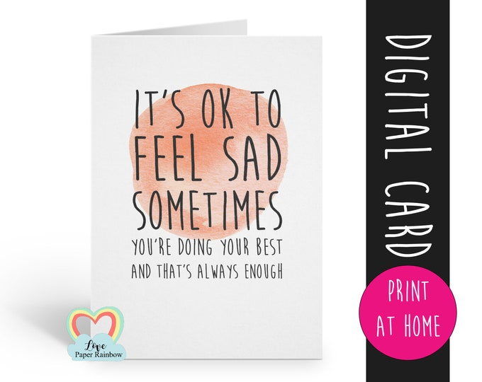 PRINTABLE thinking of you, positive quote, motivational quote, new mum card, in sympathy card, encouragement card, motivational card