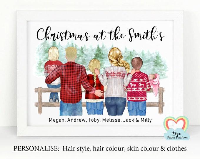 personalised family christmas print, family christmas gift, christmas family portrait, christmas at the, christmas wall art