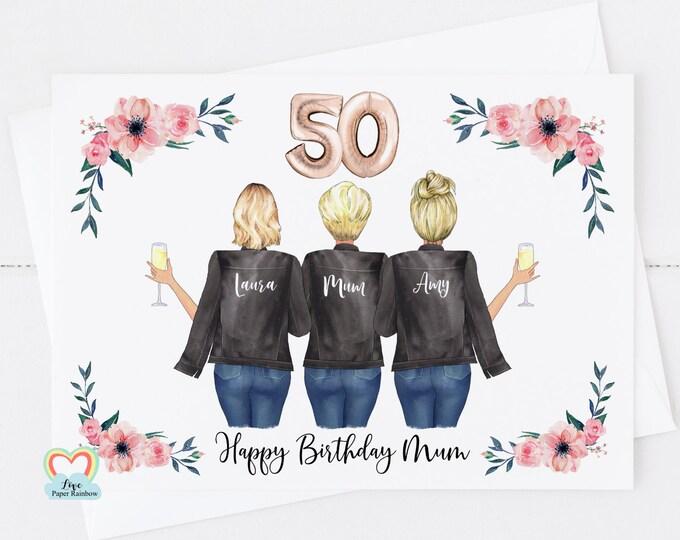 mum 50th birthday card, mum and daughter birthday card, happy 50th birthday mum, personalised 50th birthday card, personalised mum birthday