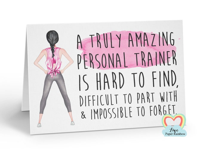 personal trainer card, personal trainer retirement card, fitness trainer card, personalised personal trainer card