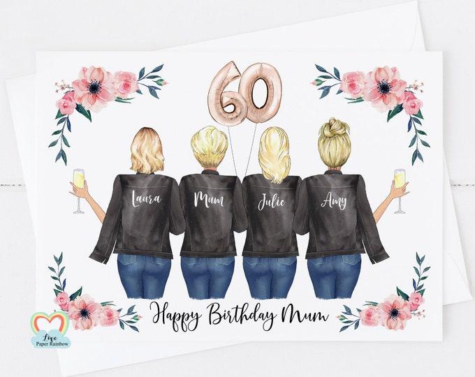 mum 60th birthday card, personalised mum birthday card, mother and daughters birthday card, mother birthday card, floral mum birthday card