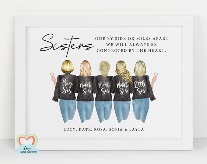 sister birthday gift personalised sister print big sister birthday gift sister framed print big sis little sis side by side or miles apart