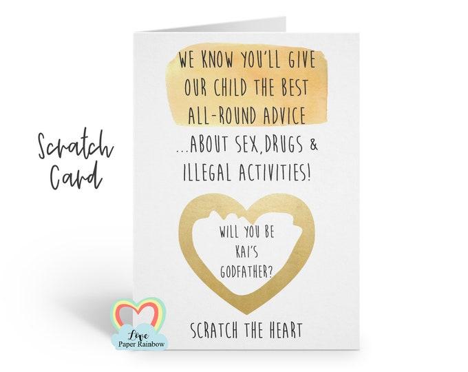 funny godfather card, godfather scratch card, will you be my godfather, rude godfather card, funny godmother scratch card, all round advice