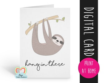 hang in there printable card encouragement chemotherapy cancer get well soon tough times hard motivational card digital download