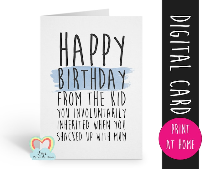 PRINTABLE birthday card stepdad birthday card digital download funny stepdad birthday card